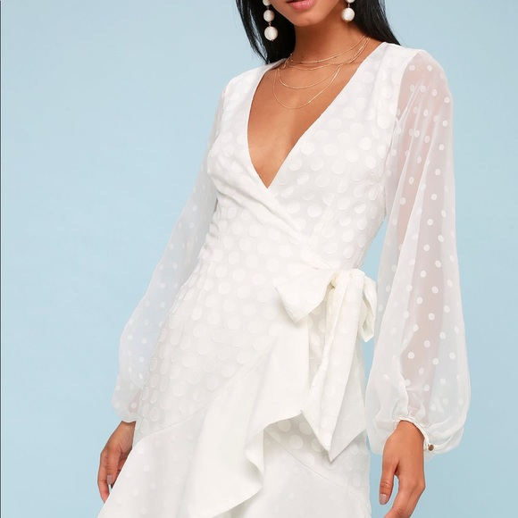 3a9d4358a50a KEEPSAKE THE LABEL WHITE LONG SLEEVE WRAP DRESS